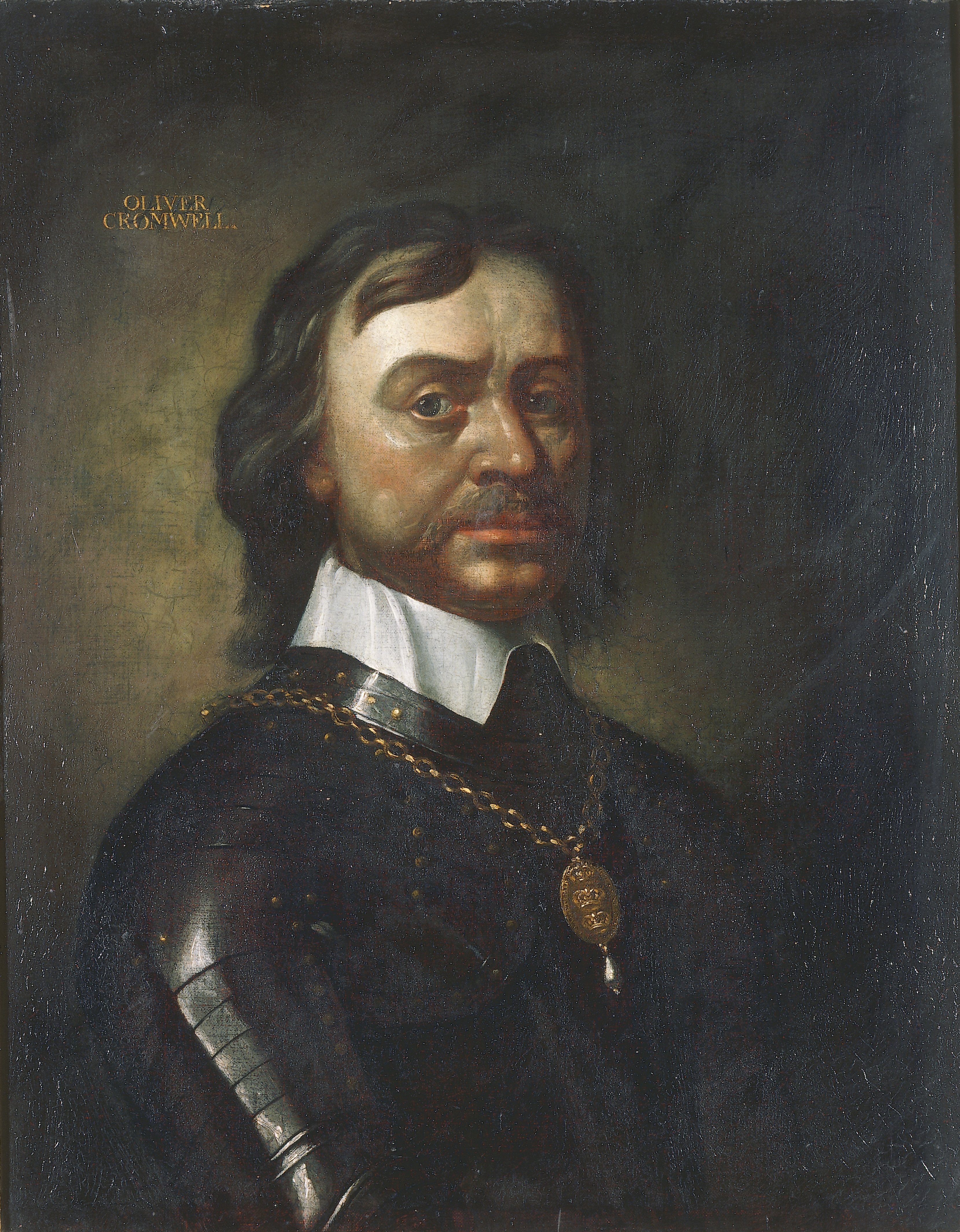 Portrait of Oliver Cromwell, English School, late 1600s, Oil on Canvas. thumbnail