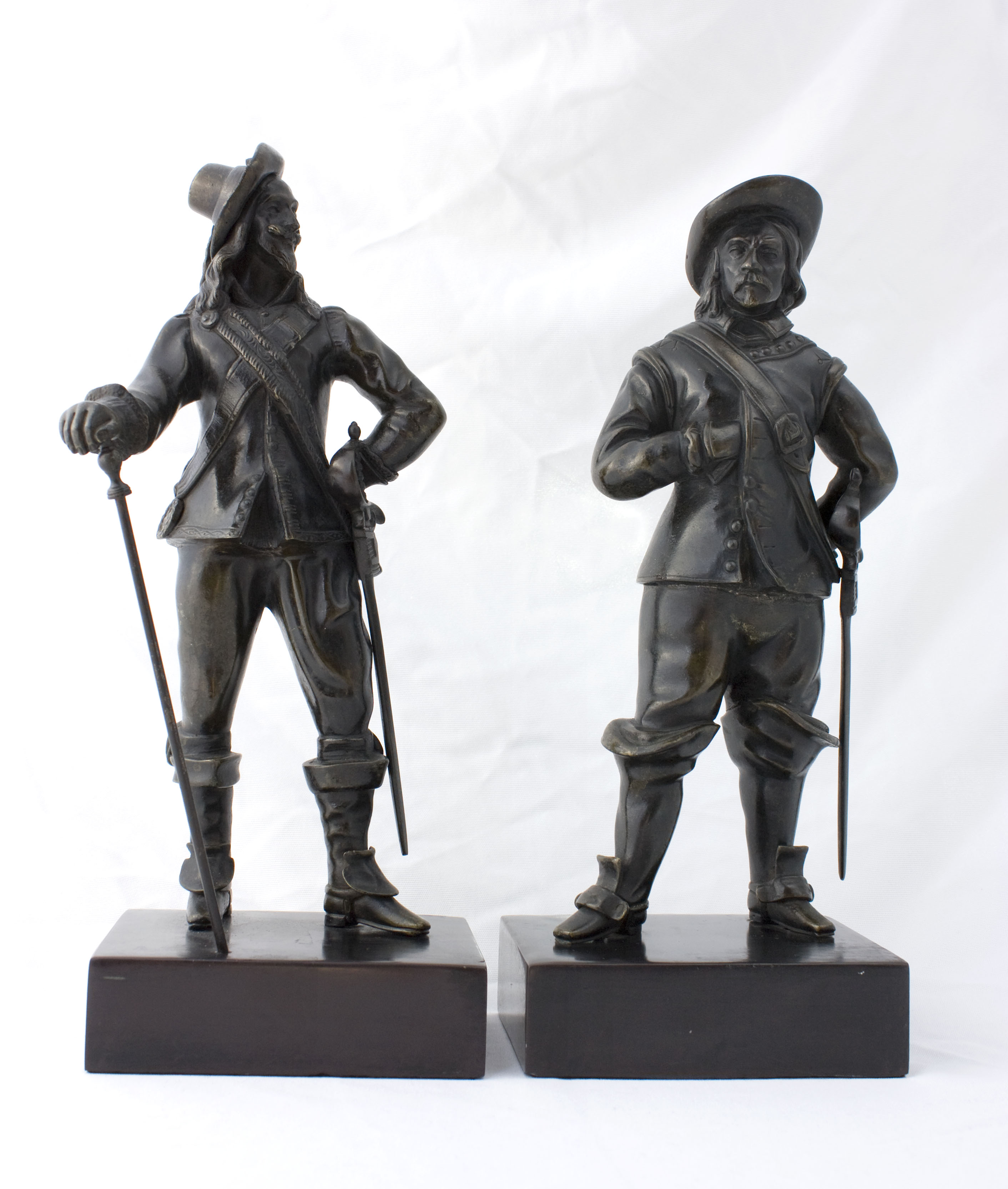 Cromwell and Charles I: English Bronze Figures, late 1800s. thumbnail