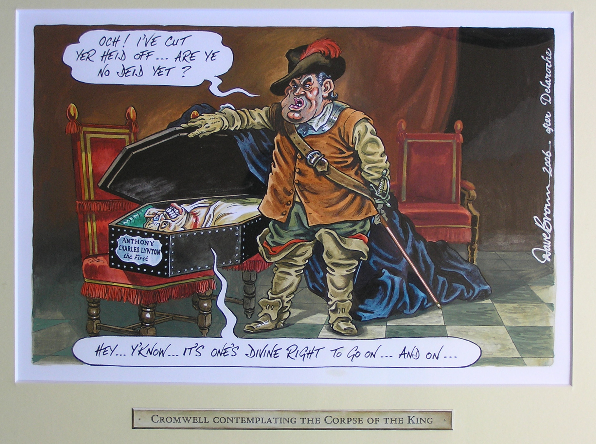 'Cromwell Contemplating the Corpse of the King' by Dave Brown, 2006. thumbnail