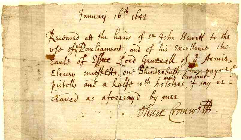 Autographed receipt signed by Oliver Cromwell, January 1643. thumbnail