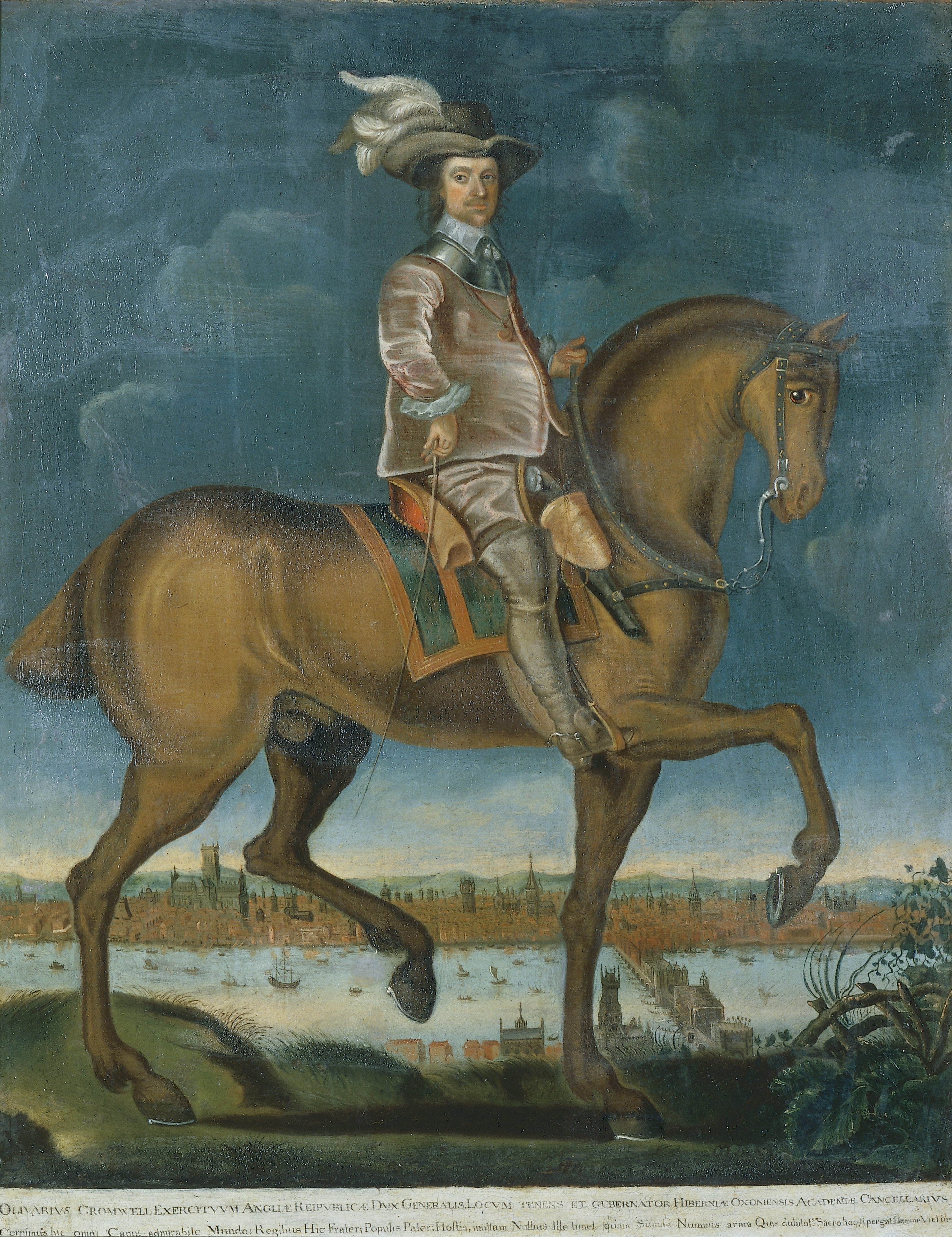 Equestrian Portrait of Oliver Cromwell, English School, c.1655, Oil on Canvas. thumbnail
